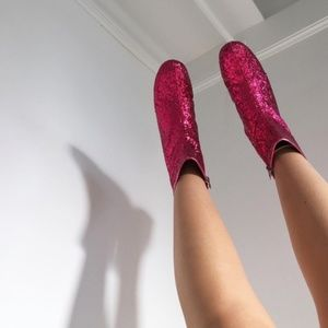 Pink Glitter Booties